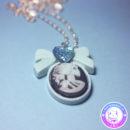 maria kawaii store – collar camafeo lady skull celeste accesorio pastel goth 2