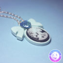 maria kawaii store – collar camafeo lady skull celeste accesorio pastel goth 3
