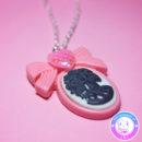 maria kawaii store – collar camafeo lady skull rosa y negro 3