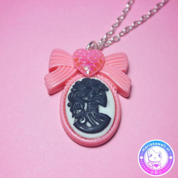 maria kawaii store – collar camafeo lady skull rosa y negro