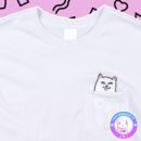maria kawaii store – polera rip n dip cat middle finger blanco white cat 3