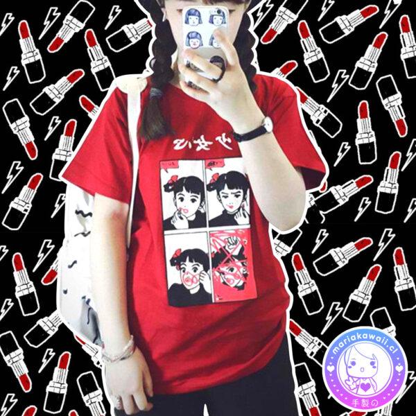 maria kawaii store – polera lipstick girl red 3