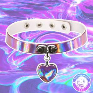 maria kawaii store – chocker holográfico corazón colgante lila iridescent holographic