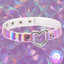 maria kawaii store – chocker holográfico corazón lila iridescent holographic
