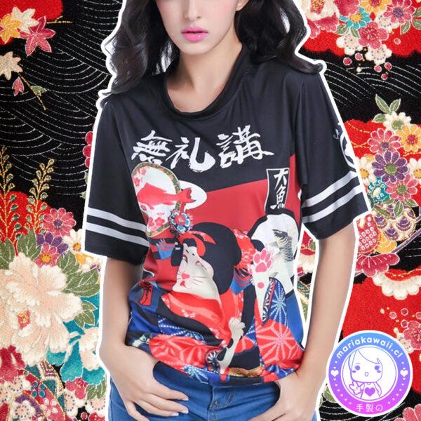 maria kawaii store – polera harajuku geisha gato japón neko japan